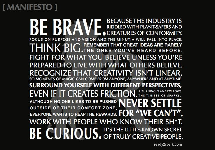 brand manifesto, ready 2 spark